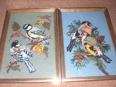 Pair Vintage Framed And Glazed Embroidery Sampler Pictures Of Birds