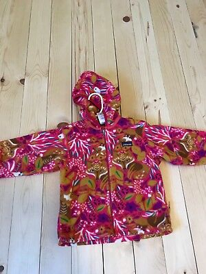Patagonia Baby Synchilla Fleece Hooded Cardigan Size 3T Pink Fox Print