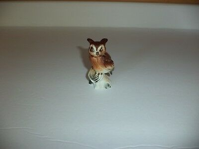 Vintage Bone China Miniature Small Horned Owl On Stump Figurine