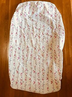 Pottery Barn Kids Fitted Crib Sheet, White with Pink Bird Pattern, 100% Cotton