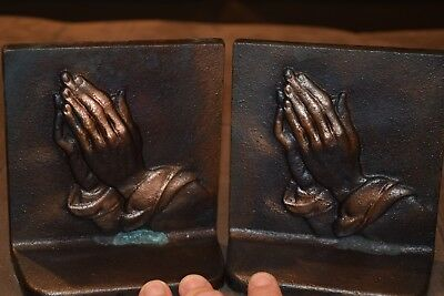 Heavy Cast Iron Praying Hands Book Ends with Antique Copper Finish.