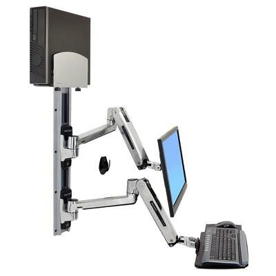 Ergotron LX Sit Stand Wall Mount Monitor & Keyboard System with CPU Holder