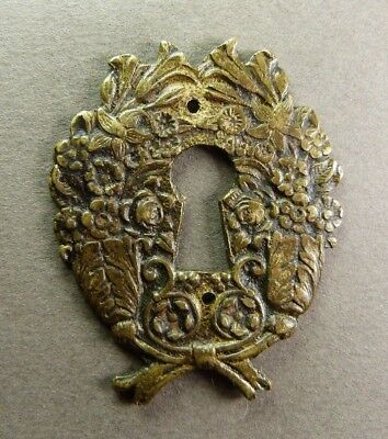 "French Antique Bronze Keyhole Cover Escutcheon Leaves Decor - 2"" 3/16 x 1""3/4"