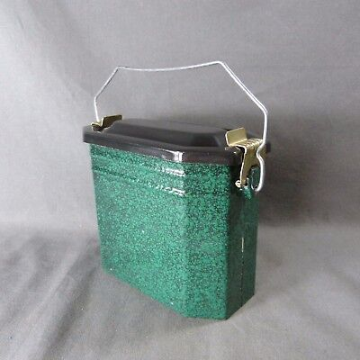 Antique Vintage French Enameled Graniteware Green & Black LUNCH PAIL LUNCH BOX