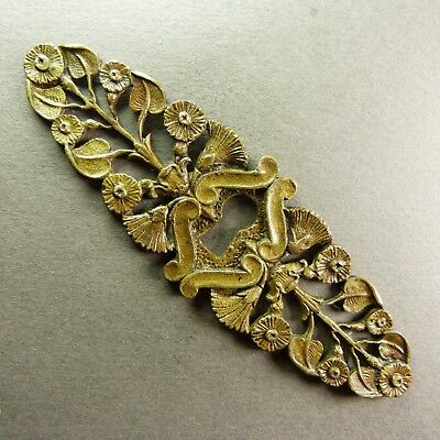 "French Antique Bronze Keyhole Cover Escutcheon Flowers Decor - 4""1/8 x 1""1/4"