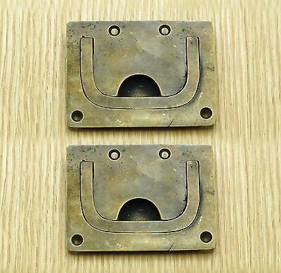 2.83 Set 2 pcs Vintage Flush clip Handle SLD Brass Antique Cabinet Drawer Pulls