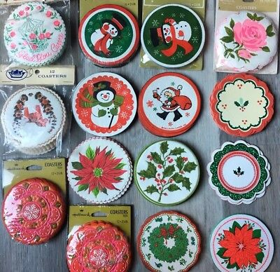 Vintage Asst Lot 158 HALLMARK PAPER Party COASTERS Christmas Santa Snowman Unuse