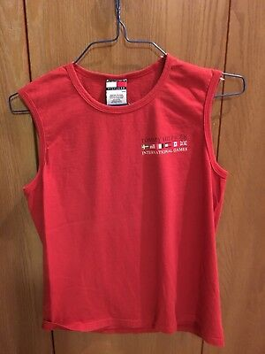 Vintage Tommy Hilfiger Tank Red International Games Flags Mens Small