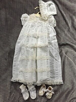 Vintage Baby Christening Gown Bonnet Shoes Socks Styled by the Shepherd