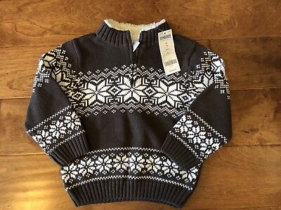 NWT Gymboree Mountain Lodge Sweater Brown Snowflake Half Zip Fur Lined 2T