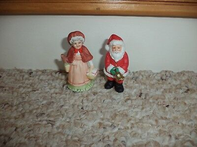 Vtg 1986 Lefton Colonial Village Mrs. + Santa With Metal Bell Christmas Figures