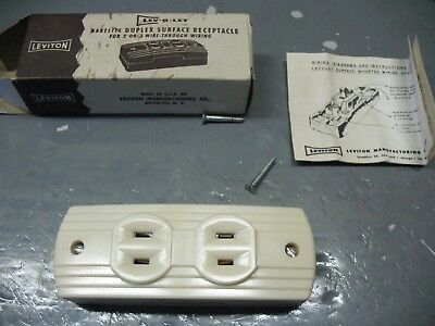 Leviton  Lev O Let  Art Deco  Bakelite  Duplex  Surface  Receptacle  Mib