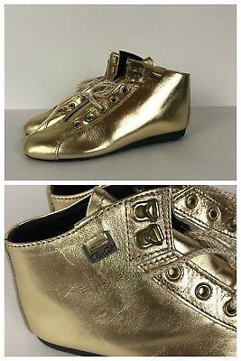 CHOOSE SIZE Vintage Girls NOS 1980s Gold Lace Up LEATHER Ankle Boots CHILDRENS