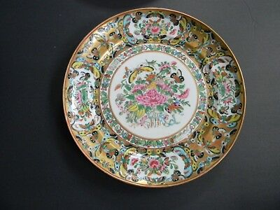 10 ANTIQUE CHINESE EXPORT PORCELAN FAMILLE ROSE PLATES w BUTTERFLY BORDER