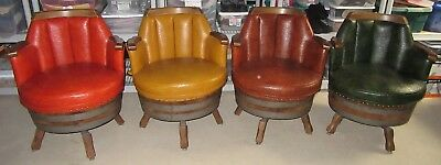 """4 Rare Vintage Mid-Century Whiskey Barrel Swivel Armchairs """"PICK UP ONLY"""""""