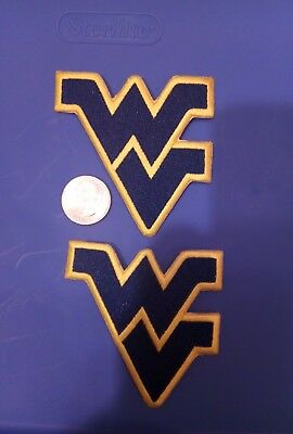 """(2) WV West Virginia Mountaineers Vintage Embroidered Iron On Patches 3"""" x 3"""""""