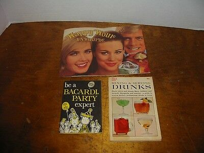 3 Vintage 1960's Drink Mixing Bacardi Party Southern Comfort Barguide Recipes