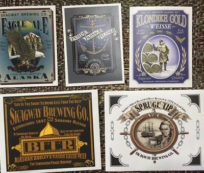 Skagway Brewing Company Beer Sticker (labels) Lot Of 5 Mint