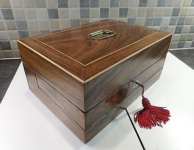 Victorian Inlaid Rosewood Writing Box & Slope With Jewellery Box Good Lock & Key