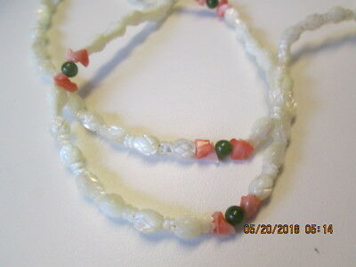 """Vintage Faux Mother of Pearl Jade Pink Glass Rosebud Beads Necklace Jewelry 24"""""""