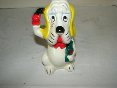 Vintage Still Bank Coin Savings Sad Puppy Dog Figure Porcelain Or China Material