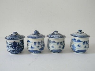 4 ANTIQUE CHINESE EXPORT PORCELAN CANTON COVERED CUPS / MUGS w TWISTED HANDLES
