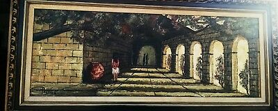 "Original Landscape Mission Church Painting Signed Palmer Framed Canvas 28""x82"""