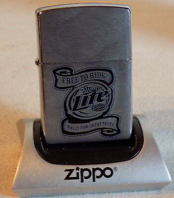 Rare Vintage New Unfired 2006 Zippo Miller Lite Beer Free To Ride Great Lighter