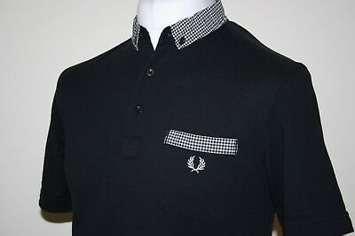 Fred Perry Black / White Gingham Trim Polo Shirt M Slim Fit Rare MINT Cond. Top