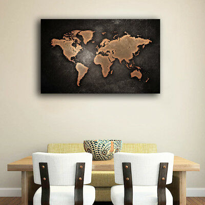 Framed Canvas Prints Stretched Vintage World Map Wall Art Home Decor Gift