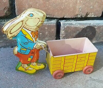 Vintage OHIO ART Tin Lithograph Toy Rabbit With Cart / Metal Toy / 1950's Bunny