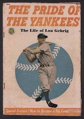 The Pride of the Yankees Life of Lou Gehrig 1949 G 2.0 Cream to Off White Pages