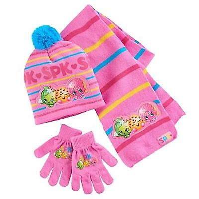 SHOPKINS Girl's Hat Scarf & Glove Set  NWT  One Size   Pink Knit w/ Applique's