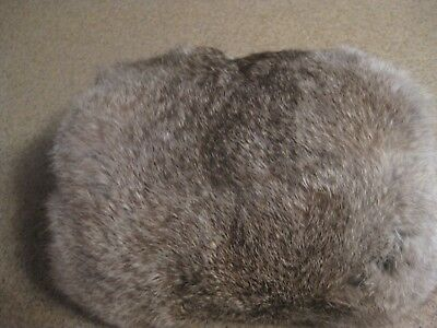 """Vintage Gray and White Rabbit Fur Muff Satin-lined 9 1/2"""" long"""