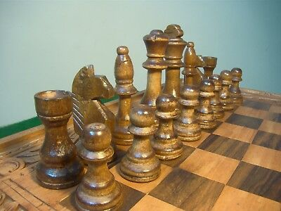 Big Wooden Hand Made Board & New  And Wooden Chess Set Size 46 X 45