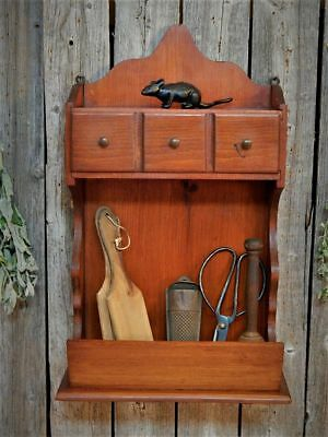 Vintage Wood Wall Candle Box Shelf Drawer Bin Pantry Spice Apothecary