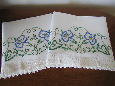 Vintage Pair of Pillowcases Embroidered & Crocheted Morning Glories Exquisite