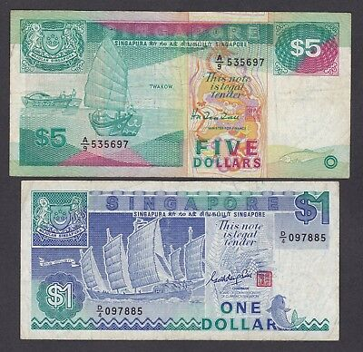 -Auction- Singapore $5 & $1 Lot Of 2 Notes