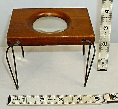 NAUTICAL STANDING MAP READER MAGNIFYING GLASS IN WOODED CASE 1800s