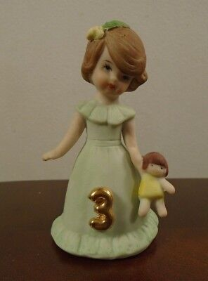 "Vintage Enesco Growing Up Birthday Girls Brunette Age 3 Porcelain 3"" Figurine"