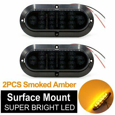 """2X 6"""" 10 LED Surface Mount Oval Smoked Amber Turn Signal Park Marker Tail Light"""