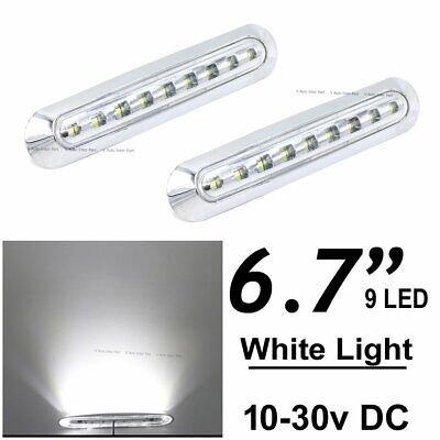 """2X 6.7"""" Long White 9 SMD LED Side Marker Tail Light Clearance Truck Trailer Bus"""