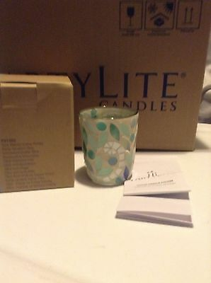 PARTYLITE CANDLES Vine Mosaic Votive Holder New in Box  RARE Tiffany style glass