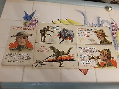WWI ARMY Postcards 5 card unused lot of army life. Mostly war thoughts in France