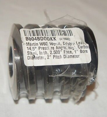 "Martin W6D Worm Gear B004BDODKK 1"" Bore - 2"" Pitch Diameter - Double Lead - NEW"