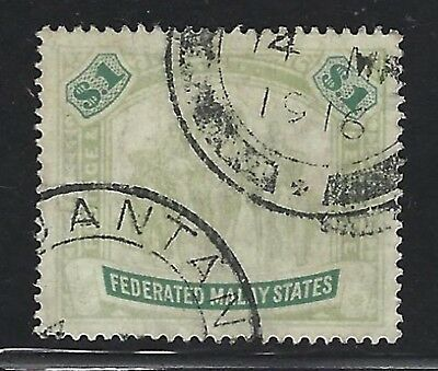 1907 Federated Malay States Scott #34 (SG #48) - $1 Elephants and Howdah - Used