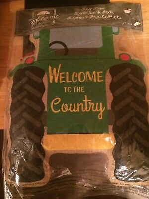 Welcome To The Country Door Decor Tractor Burlap Door Hanger Brand