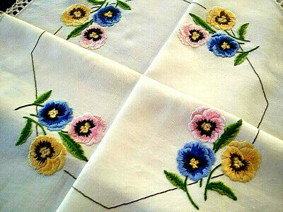 Stunning Pansy Flowers  ~ Vintage Hand Embroidered Tablecloth