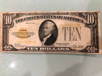 Fr. 1928 $10 Ten Dollars Gold Certificate Currency Note
