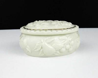 Lenox Fruits Of Life Oval Trinket Box 1998 Embossed Design Cream With Gold